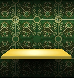 Luxury yellow shelf on green wallpaper vector