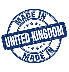 Made in united kingdom blue grunge round stamp vector