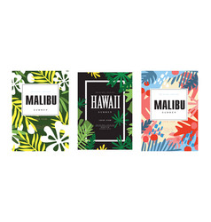 malibu hawaii summer banner templates set vector image