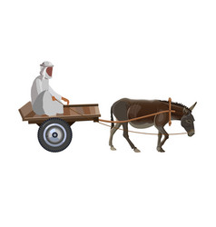 Man with donkey cart vector