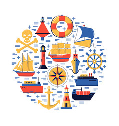 marine round concept with ship icons in flat style vector image