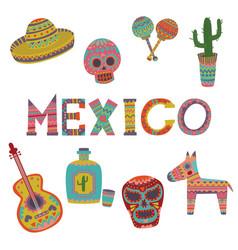 mexico set symbols of mexican culture cartoon vector image