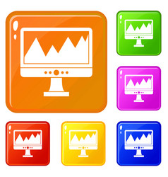 monitor and a chart icons set color vector image