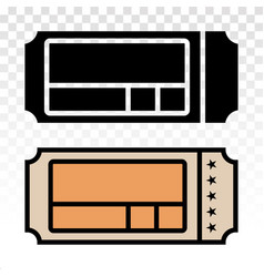 Movie cinema ticket flat icons on a transparent vector