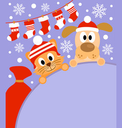 new year background card with cat and dog vector image