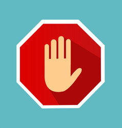no entry hand sign with long shadow in flat style vector image