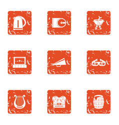 Notify icons set grunge style vector