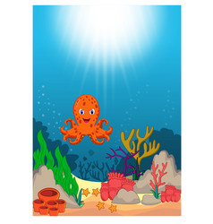 octopus in beautiful underwater world cartoon vector image