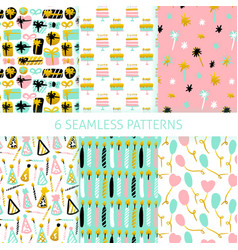 party celebration seamless patterns vector image