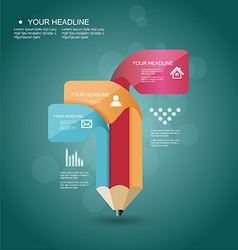 pencil Infographic timeline template with icons vector image