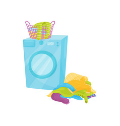 Plastic basket full of clean clothes on washing vector