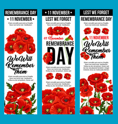Poppy banners remembrance day 11 november vector