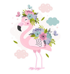 Poster with beautiful pink flamingo and flowers vector