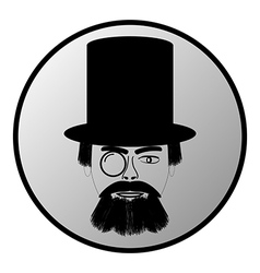 Retro man portrait button vector image