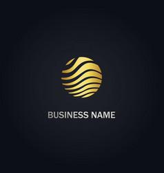 round wave gold logo vector image