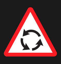 Roundabout sign flat icon traffic and road sign vector