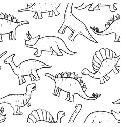 seamless pattern hand drawn doodle dinosaur vector image