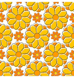 Seamless texture with yellow camomile vector image