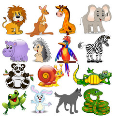 set cartoon animals with crocodile snail snake vector image