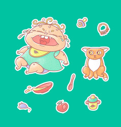 Set of color stickers crying vector