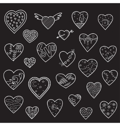 Set of sketch hearts vector