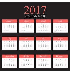 Simple calendar 2017 vector
