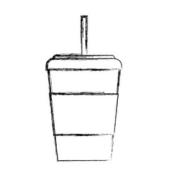 Sketch draw disposable coffee cup vector