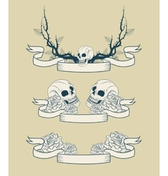 Skull branches and roses tattoo art design vector image