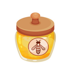 Small glass jar of honey with wooden lid and label vector
