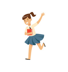 Smiling girl character in school uniform running vector
