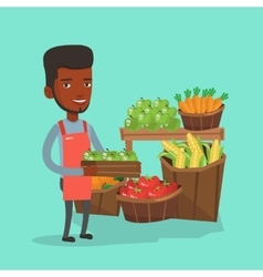 Supermarket worker with box full of apples vector image