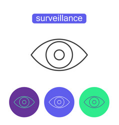 Surveillance system outline icons set vector
