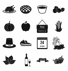 Thanksgiving day black simple icons vector