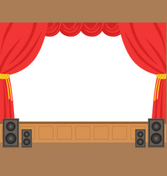 theater stage with opened red curtain colorful vector image