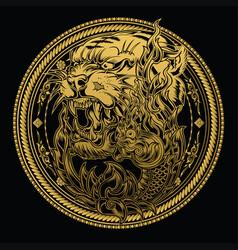 Tiger naga lotus thailand tattoo drawing on circle vector