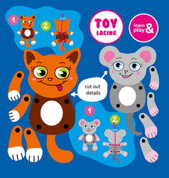Toy lacing made by hand moving cat and mouse vector