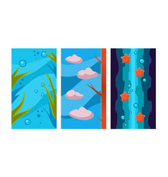 Underwater world for game background user vector
