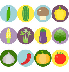 vegetables flat icons set 2 vector image