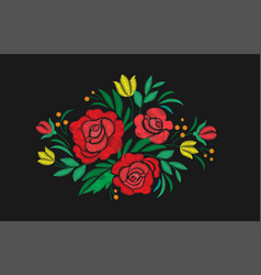 vintage flower composition embroidery elements of vector image