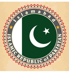 Vintage label cards of Pakistan flag vector