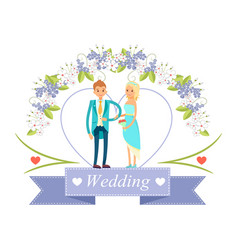 wedding happy bride and groom vector image