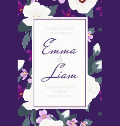 wedding invitation tropical purple violet flowers vector image