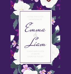 wedding invitation tropical purple violet flowers vector image