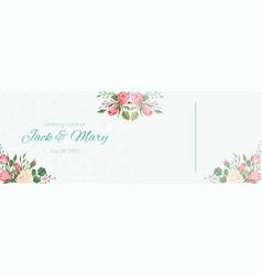 wedding postcard elegant pink rose flowers and vector image