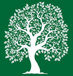 white tree on green background 2 vector image