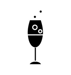 wine glass icon black sign vector image