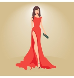 Woman in evening dress with a clutch vector