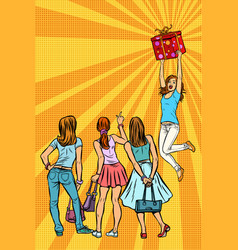 Women shoppers look at the girl with a gift vector