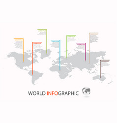 World infographic template world map with marker vector