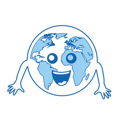 world planet comic character vector image